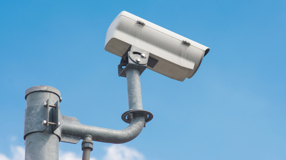 The traffic security CCTV camera operating on road detecting tra